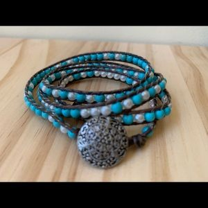 Pearly Turquoise Wrap Bracelet